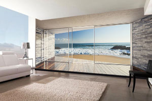 3d tapete pogled kroz balkon more