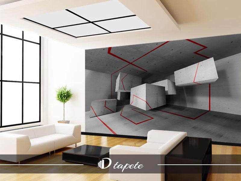 3d tapete geometriske crno bele kocke
