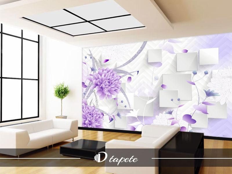 3d tapete apstraktne ljubicasto cvece i kocke