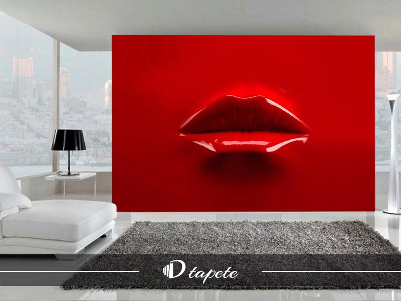 3d tapete apstraktne crvene-usne