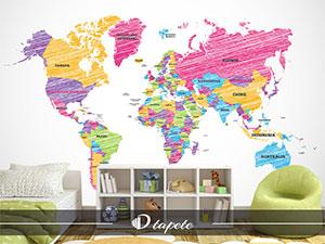decije tapete karte sveta, izrada decije tapete karte sveta, štampa foto tapete karte sveta za dečiju sobu