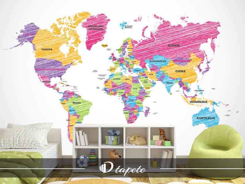 karta sveta za decu, izrada tapete karte sveta za decu, stampa foto tapete karta sveta za zid