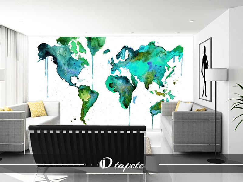 tapet mapa sveta, izrada tapte mape sveta, štampa foto tapete karte sveta