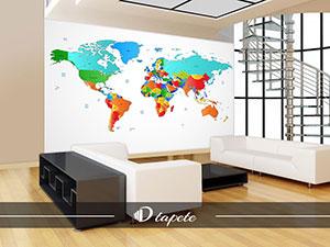 tapete karta sveta, izrada tapeta karte sveta, štampa mape sveta za zid